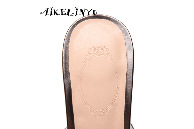 AIKELINYU Brand Elegant Crystals High heeled Summer Women 39 s Shoes Square Toes Fashion Gun Silver Women 39 s Slippers Lady Pumps in Slippers from Shoes