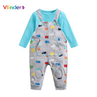 Vlinder Baby clothes sets Newborn Baby Boy Clothing Long Sleeves Baby soft T Shirt Suspender Pants 2pcs Cotton Infant Sets