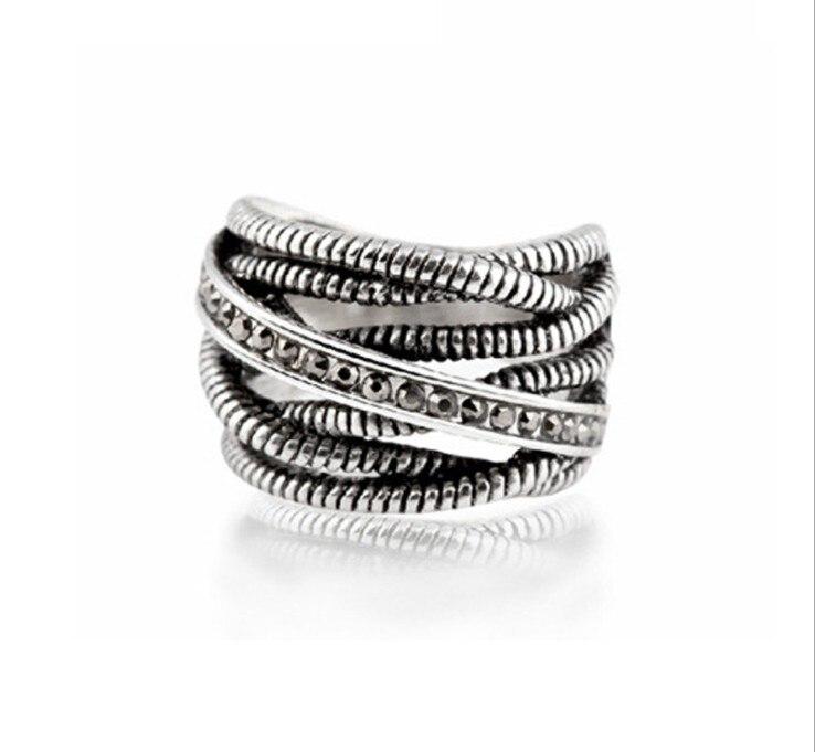 Design Antique Jewelry Chunky Big Ring Retro Style Dark Grey Metro Punk For Women Crystal from Swarovski Wedding Love Ring