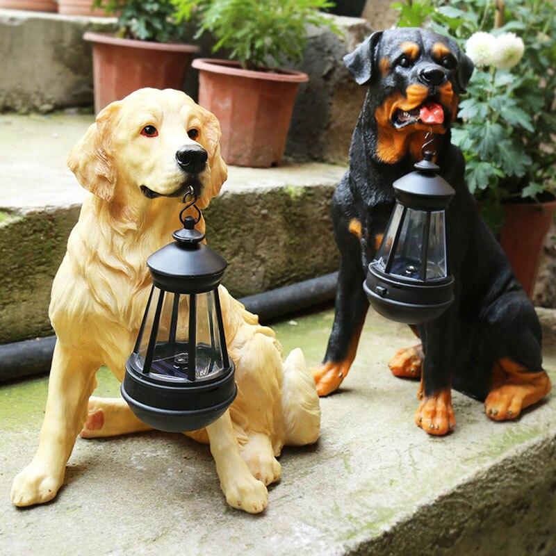 Estátua Animal jardim Quintal Cão Golden Retriever Rottweiler Cão escultura Mobiliário Home Decor Amarelo Com UMA Lâmpada de Lanterna Solar