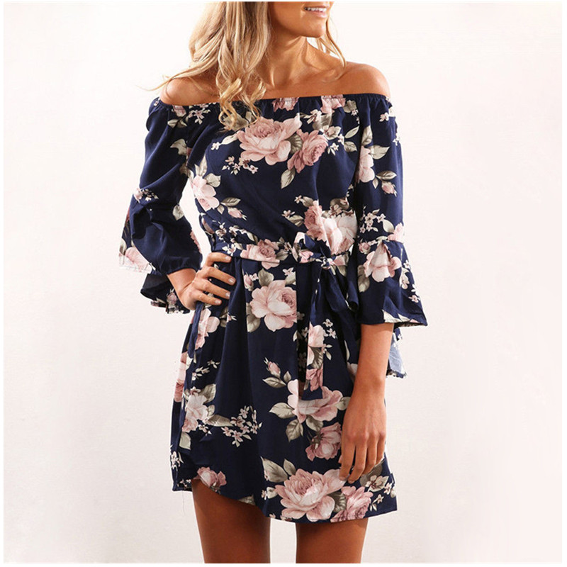Z&P Women <font><b>Dress</b></font> 2019 Summer <font><b>Sexy</b></font> Off Shoulder Floral Print Chiffon <font><b>Dress</b></font> Boho Style Short Party Beach <font><b>Dresses</b></font> Vestidos de fiesta image