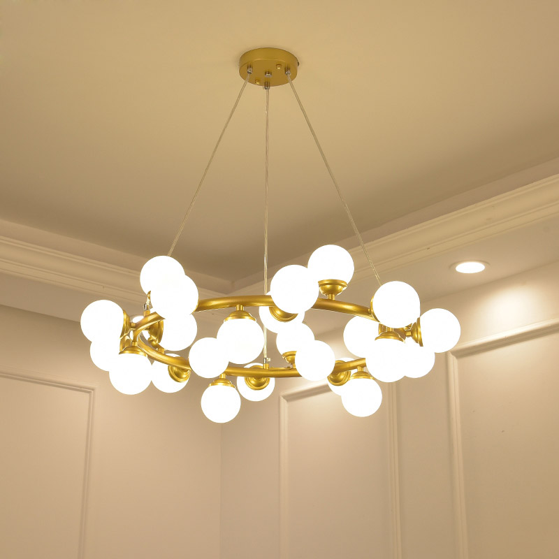 Modern minimalist personality chandelier creative art dining room fashion glass ball lamp Nordic bar circular light led lighting nordic post modern denmark creative chandelier art crown bar coffee shop decoration light dining lights