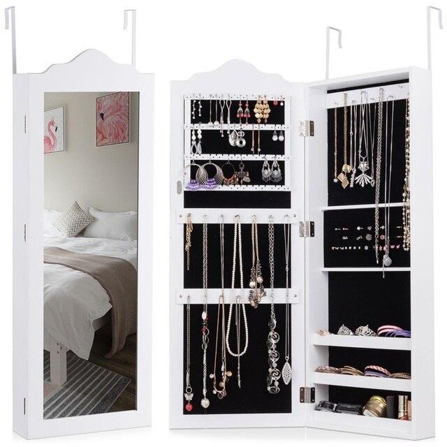 Vérifiez le prix Blanc en bois mural miroir Armoire à bijoux ...