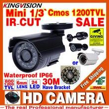 Bienes HD 1/3 cmos 1200TVL Analógica IP66 A Prueba de agua de Seguridad CCTV Color Mini Cámara pequeña Al Aire Libre 24led IR infrarrojos Visión nocturna 30 m