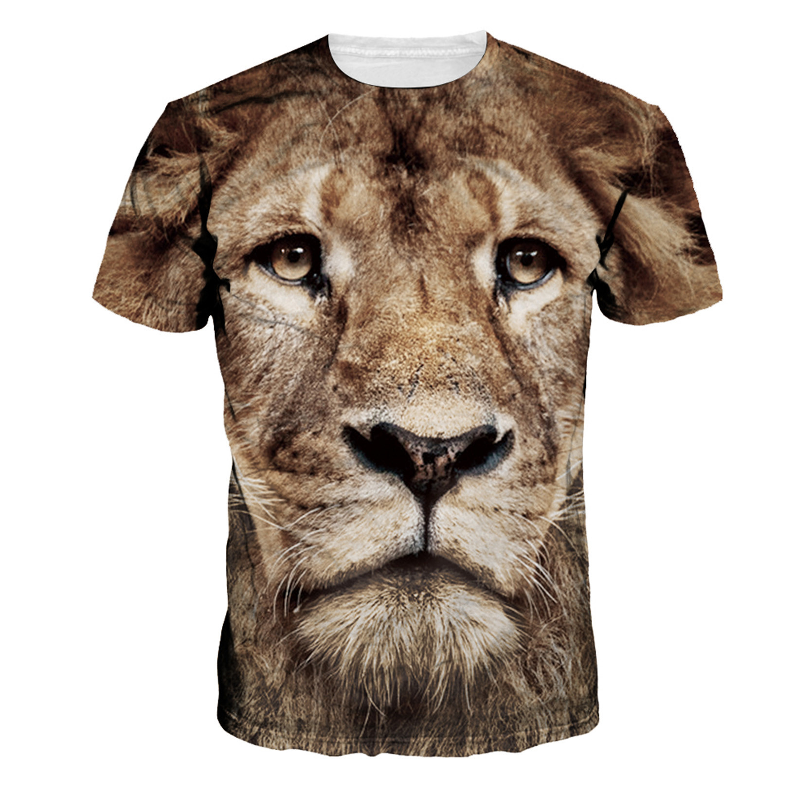 2016 new fashion brand t shirt 3d lion print tops hip hop style summer casual clothing