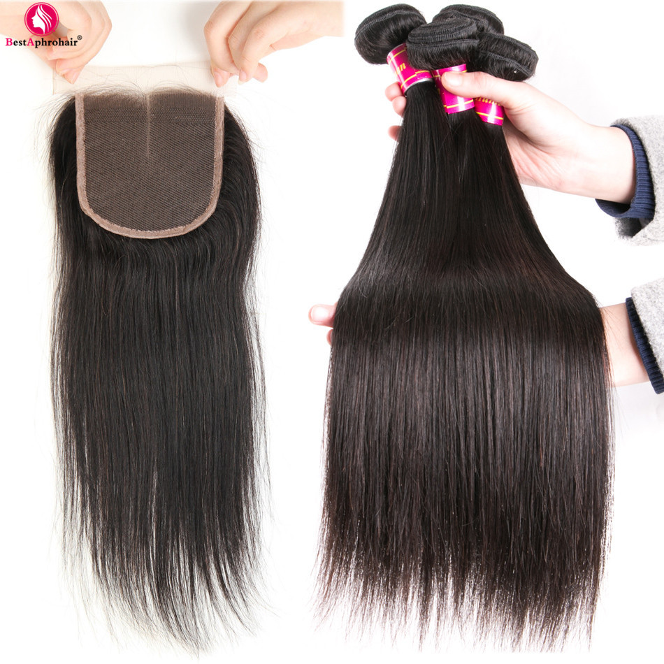 Aphro Hair Peruvian Straight Hair 3 Bundles With Closure Non Remy Human Hair Weave Bundles With Closure Middle Part Swiss Lace