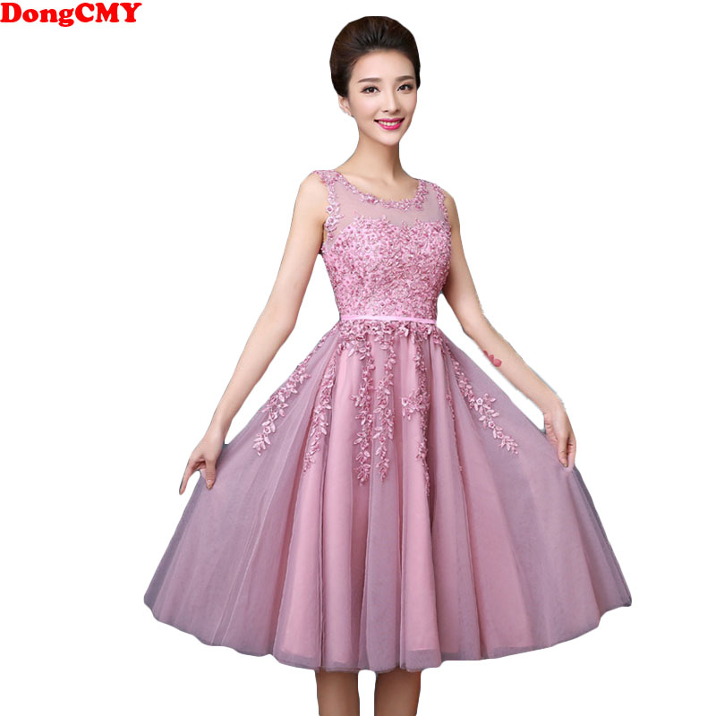 DongCMY 2019 Short Pears Prom Dresses Junior Hot Elegant Lace Party Vestdio Gowns
