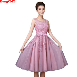 Image 1 - DongCMY 2020 Short Pears Prom Dresses Junior Hot Elegant Lace Party Vestdio Gowns