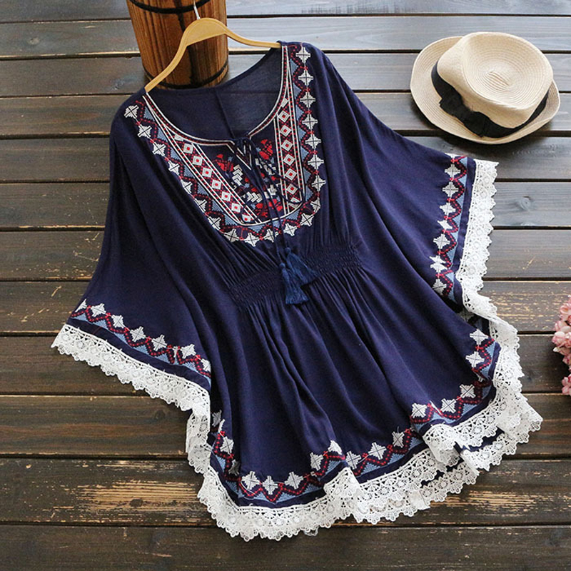 YSMILE Y Embroidery Spring Summer Shirt Cotton Casual Office Lady Vintage Personality Tie Raglan Sleeves Lady Blouse YK42954