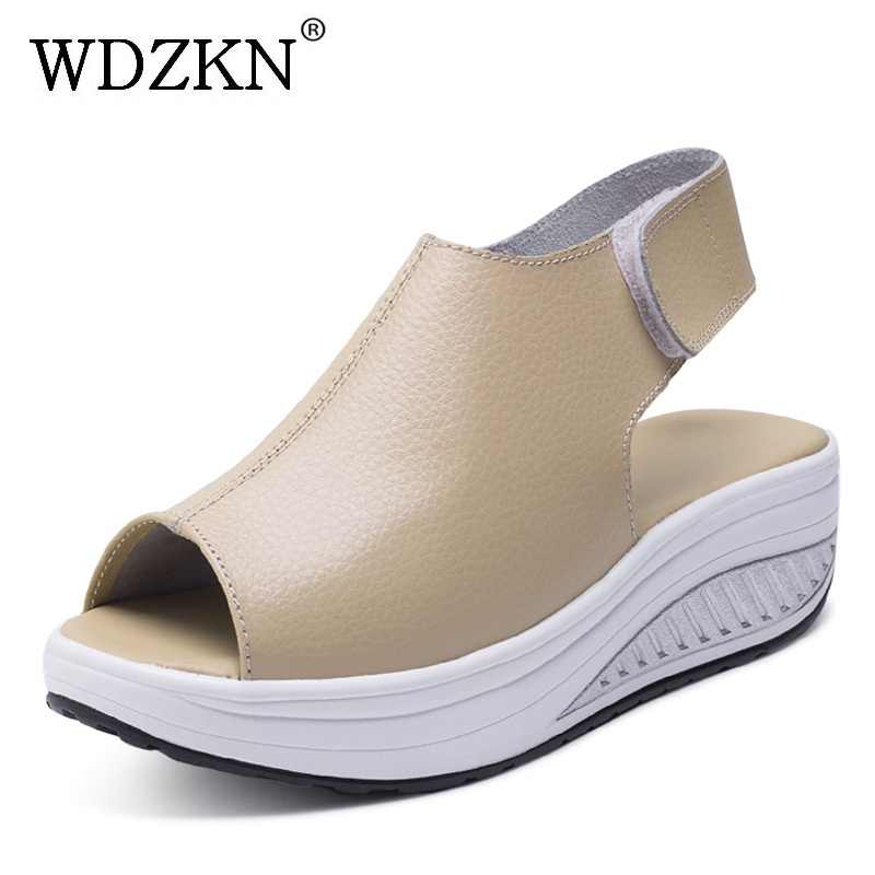 230c8e84fa WDZKN Plus Size 42 43 Genuine Leather Women Sandals Open Toe Wedge Platform  Gladiator Sandals For