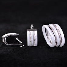 Blucome Luxury Ceramic Jewelry Sets Earrings rings for Women CZ Zircon White Rhinestones Copper Aretes Bridal