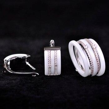 Blucome Luxury Ceramic Jewelry Sets Earrings rings for Women CZ Zircon White Rhinestones Copper Aretes Bridal Wedding Schmuck