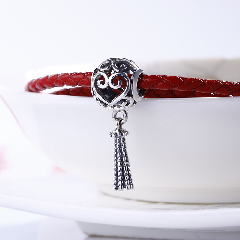 2018 Spring High Quality 925 Sterling Silver Enchanted Heart Tassel Beads Fit Original DIY Pandora Charm Bracelet Fine Jewelry