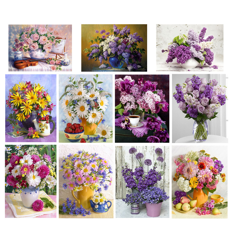 Diy diamond embroidery bright flower 5D diamond mosaic painting modern flower cross stitch rhinestone painting(China)