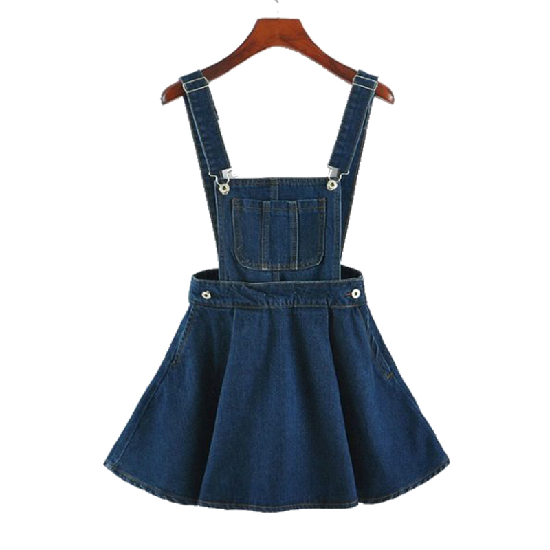 New 2017 Vintage Sweet Preppy Style Womens takedown braces mini Denim Skirt Ladies Girls A-line Suspender Skirt S M L