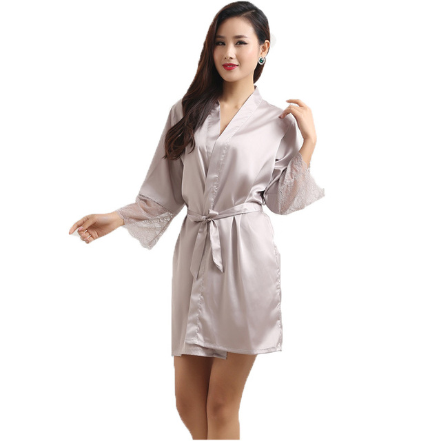 New Fashion Womens Silk Lace Sleep & Lounge Lingerie Temptation Nightgown Kimono Sleepwear Robe Gown With Belt SZ M - XXL