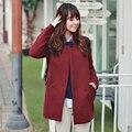 2017 Горячей продажи Осень Зима женская искусственного шерсть верхняя одежда женский сплошной цвет средней длины плюс размер тонкий теплый пальто