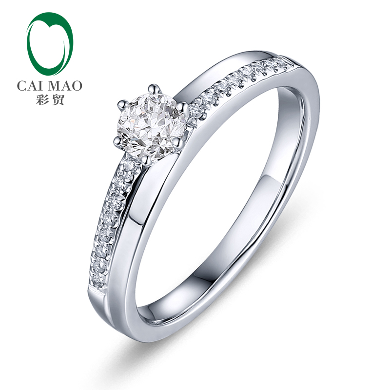CaiMao 0.3ct Natural Brilliant Cut F VS Diamond 14K White Gold Engagement Ring caimao 0 18ct natural round f vs diamond 14k white gold engagement wedding ring