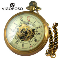 VIGOROSO Collectible Gifts Antique Old Copper Wind up Mechanical Pocket Watch FOB Chain Pendant Steampunk Skeleton Luxury Clock