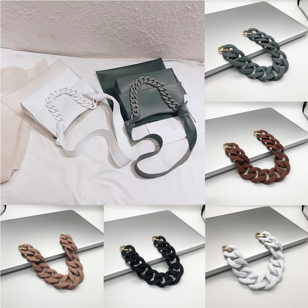 1PC 30cm/41cm Detachable Replacement Shoulder Bag Strap Acrylic Resin Chain Bag Handles DIY Solid Color Wide Bag Accessories