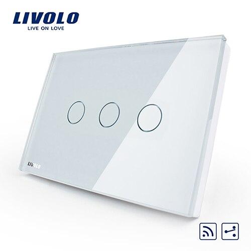 Livolo США/AU стандарт 3 партия 2-way дистанционный сенсорный светильник переключатель, белый, с украшением в виде кристаллов Стекло Панель, VL-C303SR-81, без пульта дистанционного управления - Цвет: White