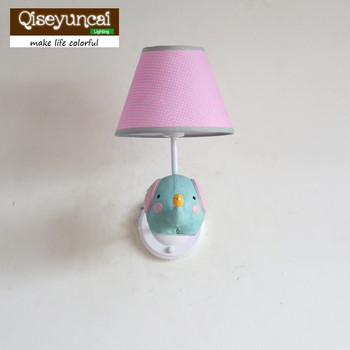 Qiseyuncai American small fresh baby elephant room wall lamp simple children's lamp boy girl bedroom lighting free shipping