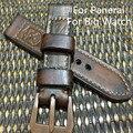 AAA Qualidade 24 MM 26 MM Handmade Dark Brown Pulseira de Couro Pulseira de Relógio, Retro Pulseiras de Couro Cinto Para Pam E Grande Relógio