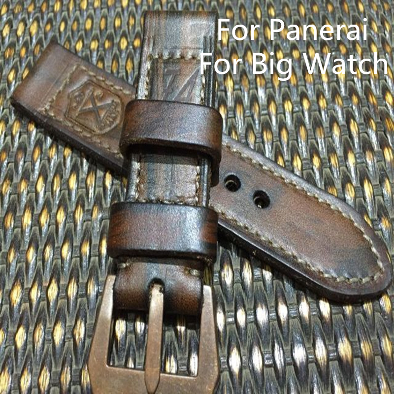 AAA Quality 24MM 26MM Handmade Dark Brown Leather Watch Strap Bracelet, Retro Leather Watchbands Belt For Pam And Big Watch 22mm 24mm 26mm frosted dark blue retro soft mate genuine leather watchband watch strap for pam and big watch free shiping
