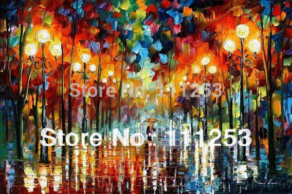 2016 Home Decor New Real Canvas Romantic Night Classical font b Knife b font Oil Painting