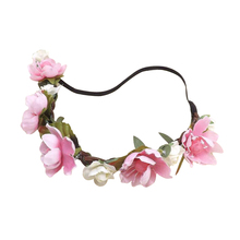 2017 NEW Flower Boho Floral Headband Garland Festival Wedding Bridal Hairband(pink)