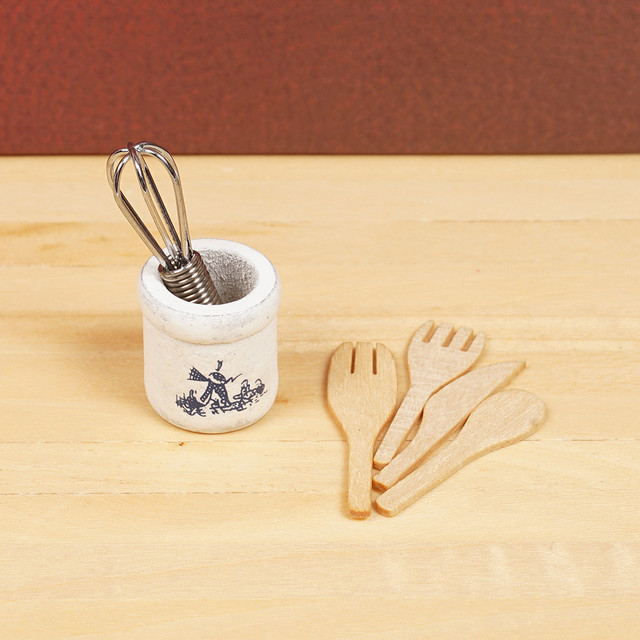 Doll House Mini Wooden Tableware 4 pcs Set