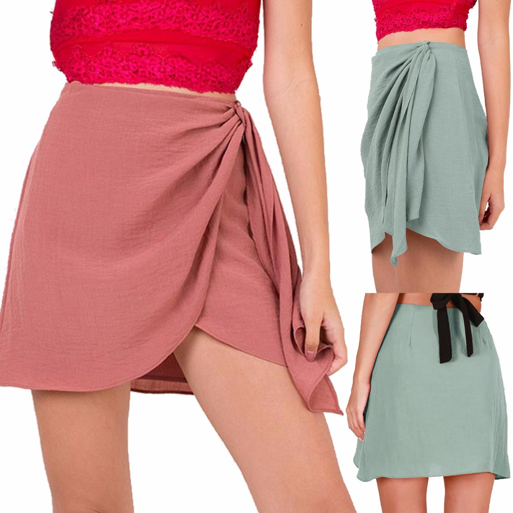 Лето 2019 элегантные хлопковые льняные юбки Для женщин s одноцветное Корейская повседневная короткая юбка Для женщин Симпатичные мини-юбка п...