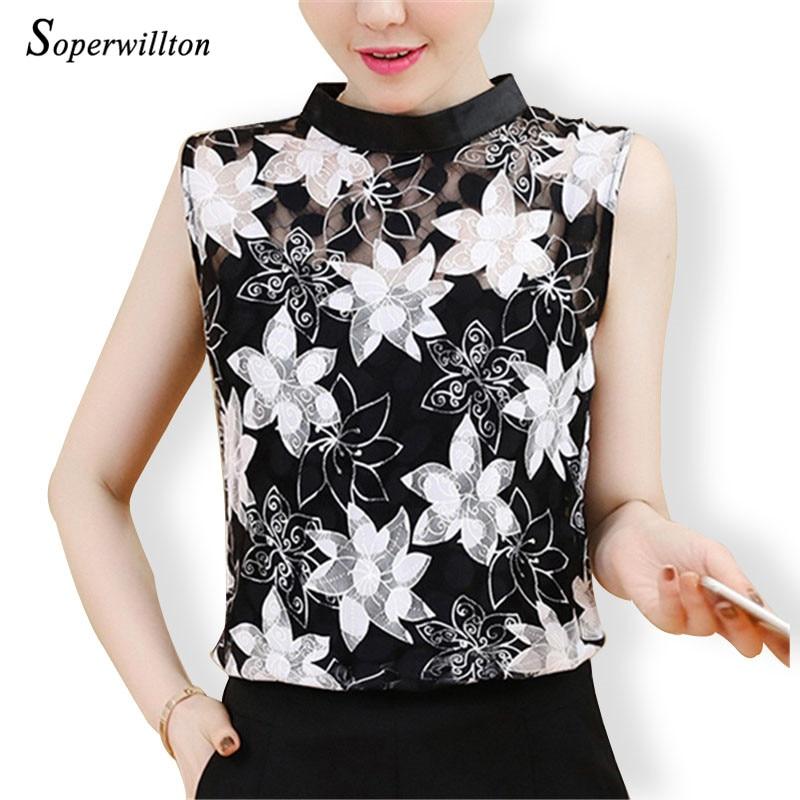 Retro Summer Lace Blouse Shirt Sleeveless Women Tops 2019 -3487