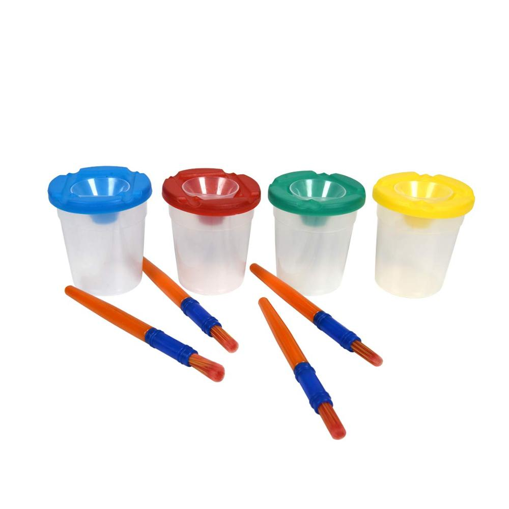 8 PCS No Spill Paint Cups With Color Lids And Brushes Children's Wash Cup For Art&school Supplies