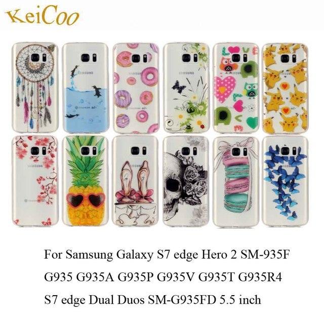 Cute Transparent Soft TPU Phone Cases For SAMSUNG Galaxy S7edge SM-G935F S7edge Dual Sim G935FD Art Printing Covers Full Housing