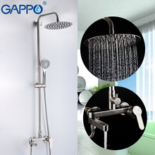 GAPPO Stainless Steel Bathroom Rainfall Shower Faucet Set Single Handle Mixer Tap With Hand Sprayer Wall Mounted Bath Shower Set quyanre wall mounted sus304 stainless steel rain shower faucets set system 3 way mixer tap square hand shower head bath shower