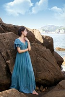 LYNETTE'S CHINOISERIE Autumn new arrival Original Design Women blue gauze embroidery lace dress