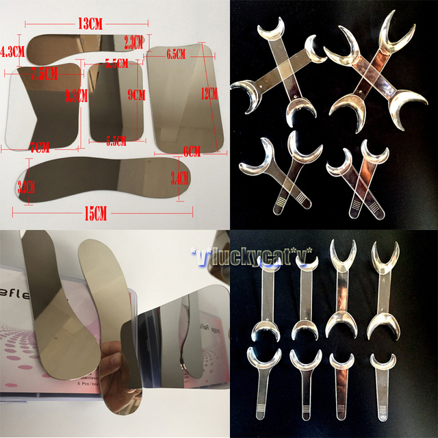 5pcs New Dental Clinic Stainless steel  Photographic Mirror + 8PCS Dental Intraoral Cheek Retractor Transparent Mouth Openers