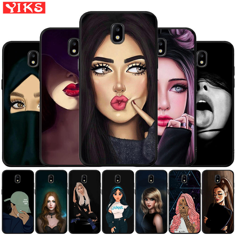 Black Brown Hair Beauty Girl Phone Case For Samsung Galaxy J3 J5 J7 2016 2017 <font><b>J2</b></font> Prime G530 j4 J6 Plus 2018 Princess Cover Etui image