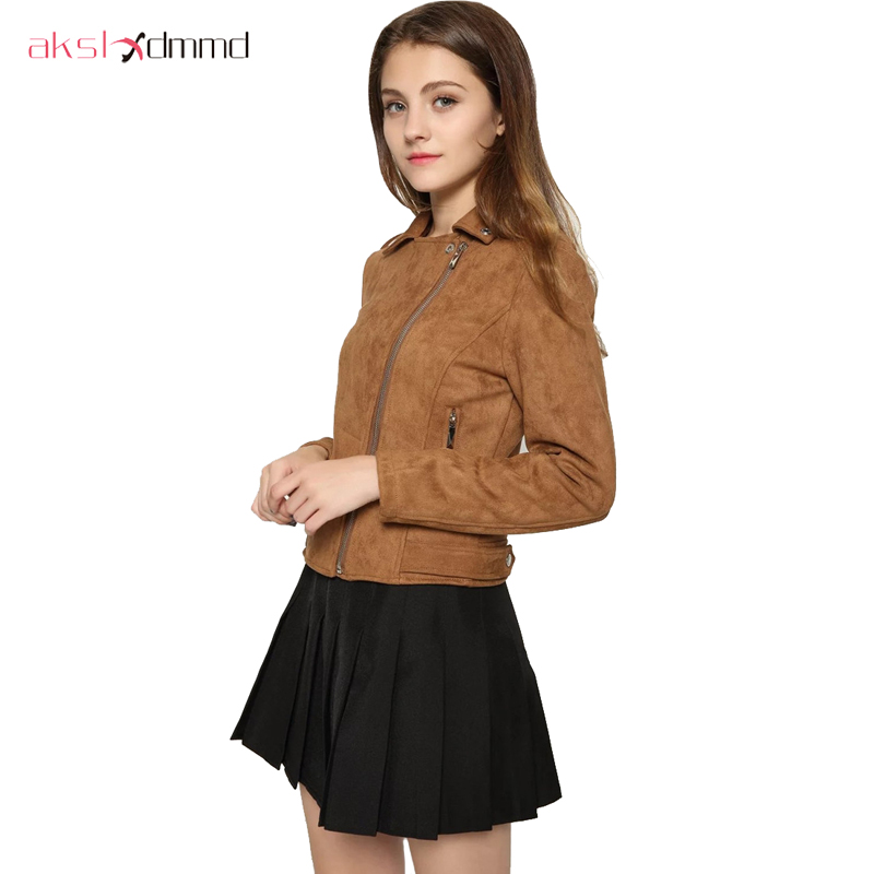 AKSLXDMMD 2019 New Fashion Women Suede Motorcycle Jacket Slim Brown Full Lined Soft Faux Leather Female Coat Veste Femme YR085