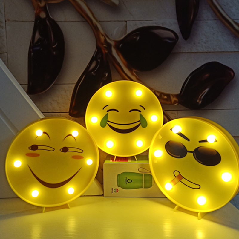 New LED facial expression smile face crying face modeling string night light wedding arrangement