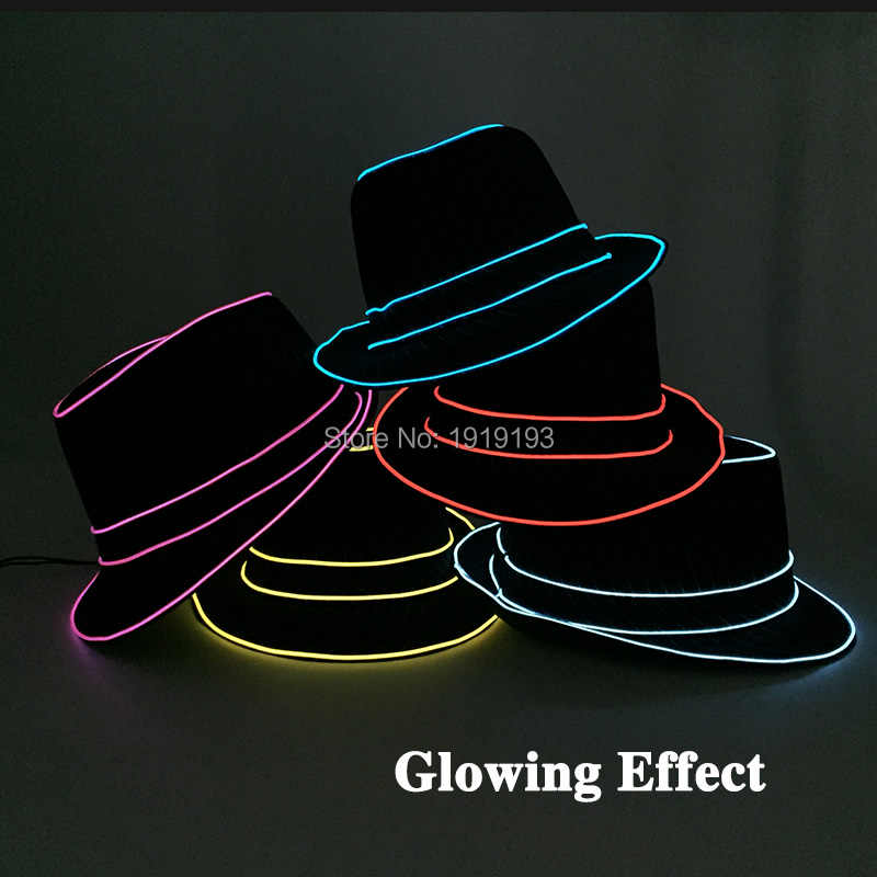 801a9a6a328 ... 6 Style LED Glow Light Up Party Hat Neon glow light Cosplay EL Hats  Performance Stage