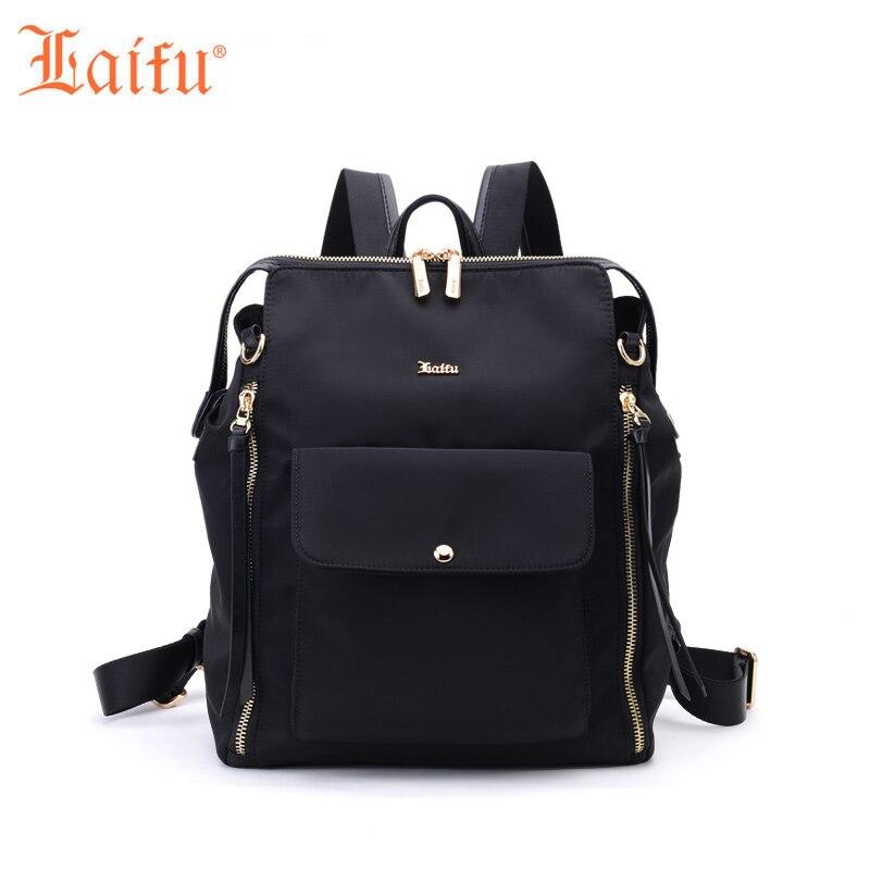 Laifu Designer Women Nylon Backpack Fashion Female Travel Shoulders Bag Teenage Girls Student School Bag (Black, Blue)