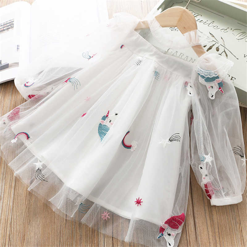 Baby Princess Unicorn Dress Cute Little Girls Summer Long Sleeves Clothes Kids Lace Unicorn Dresses fantasia unicornio menina