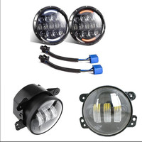 2 PCS 7 Inch Round Led Headlight With White Amber Turn Signal DRL 4 Inch 30W