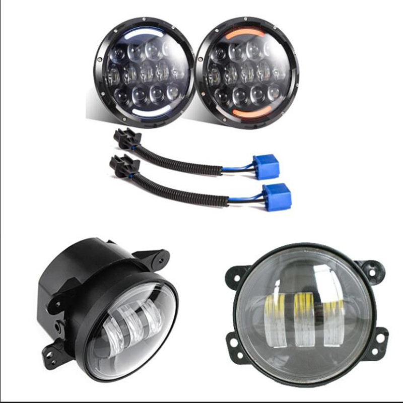 2 PCS 7 inch Round led headlight with White/Amber Turn signal DRL + 4'' inch 30W led fog lamp for Jeep Wrangler JK TJ Hummer 1 pair 60w 7 inch round led headlight with white amber turn signal drl for jeep wrangler jk tj harley davidson