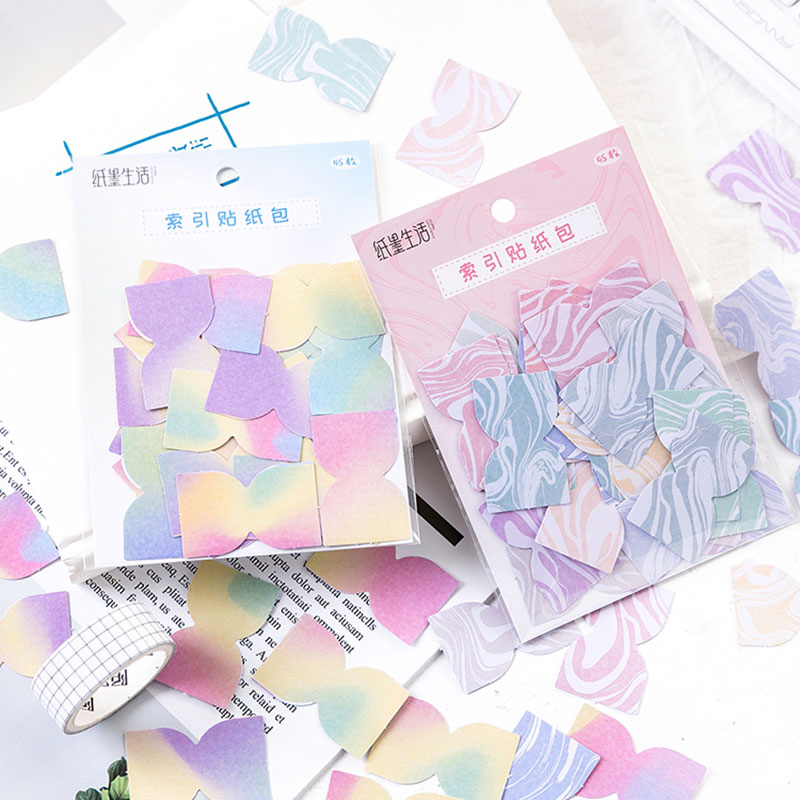 Купить с кэшбэком DIY Diary Sticke Colorful mini Gradient Color Self-Adhesive N Times Indexes Memo Pad Sticky Notes Bookmark School Office Supply
