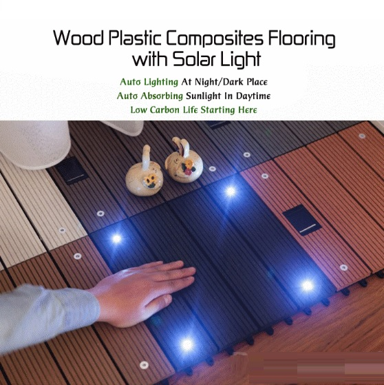 Free Shipping Wood Plastic Composite Flooring With Solar Light