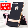 Rock royce kickstand design inovador 3d phone case para apple iphone 7/7 plus size luxo tup + pc case para iphone 7 jet capa preta