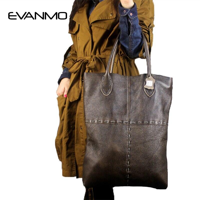 HOT Unique Designer High Quality Large Genuine Leather Women Bag Handbags Large Capacity Tote Bag Big Solid Women Shoulder Bag E